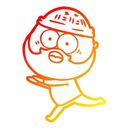 warm gradient line drawing of a cartoon bearded man running away Stockfoto - 130011292