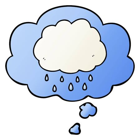 cartoon rain cloud with thought bubble in smooth gradient style