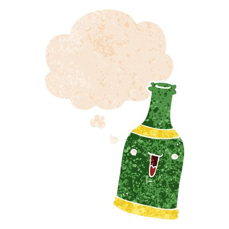 cartoon beer bottle with thought bubble in grunge distressed retro textured style
