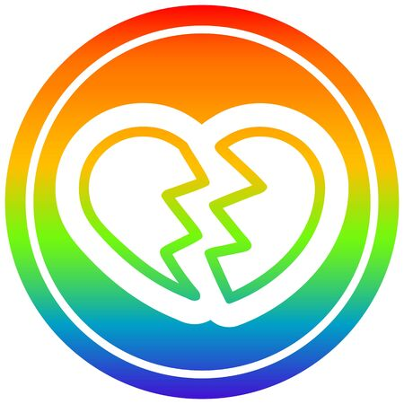 broken heart icon with rainbow gradient finish