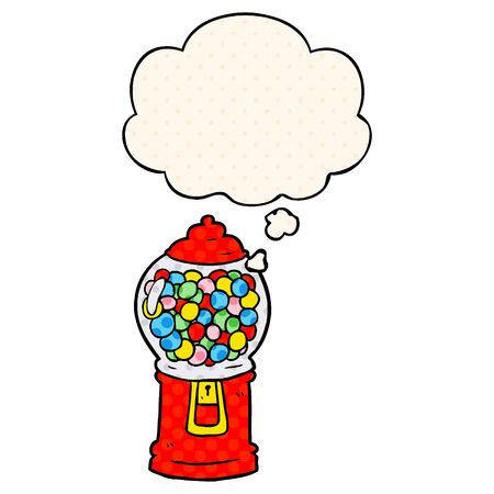 cartoon gumball machine with thought bubble in comic book style