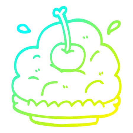 cold gradient line drawing of a cartoon dessert Illustration