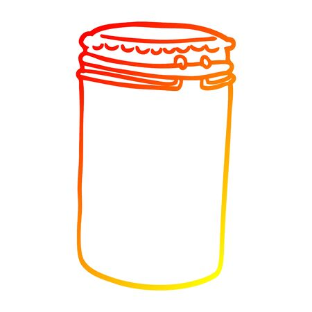 warm gradient line drawing of a cartoon storage jar