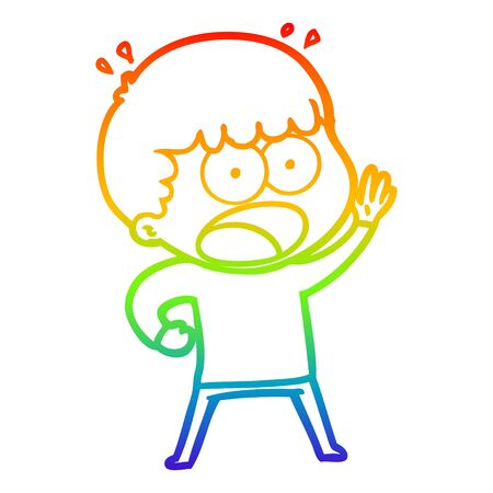 rainbow gradient line drawing of a cartoon shocked man