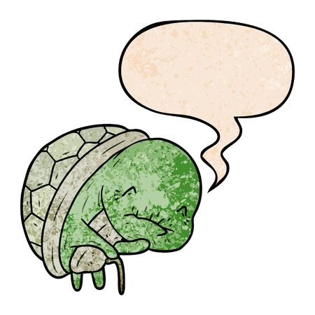 cute cartoon old turtle with walking stick with speech bubble in retro texture style