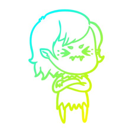 cold gradient line drawing of a annoyed cartoon vampire girl Ilustração