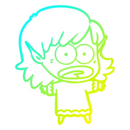 cold gradient line drawing of a cartoon shocked elf girl