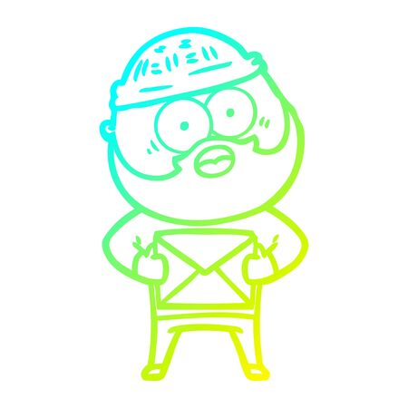 cold gradient line drawing of a cartoon surprised bearded man holding letter  イラスト・ベクター素材