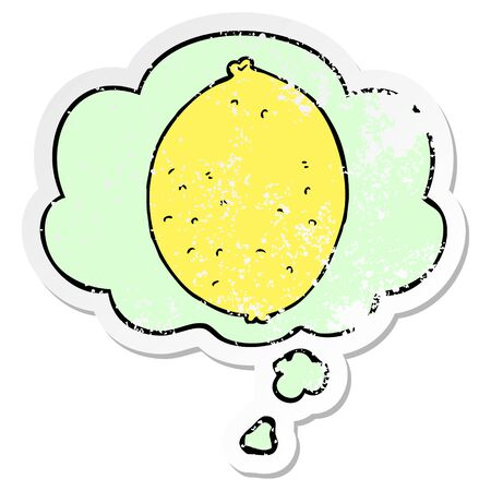 cartoon lemon with thought bubble as a distressed worn sticker