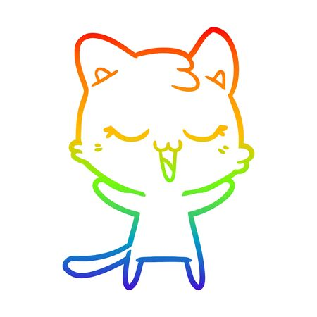 rainbow gradient line drawing of a happy cartoon cat