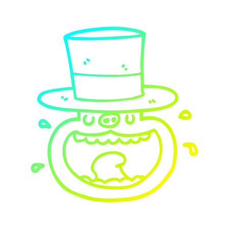 cold gradient line drawing of a cartoon pig wearing top hat