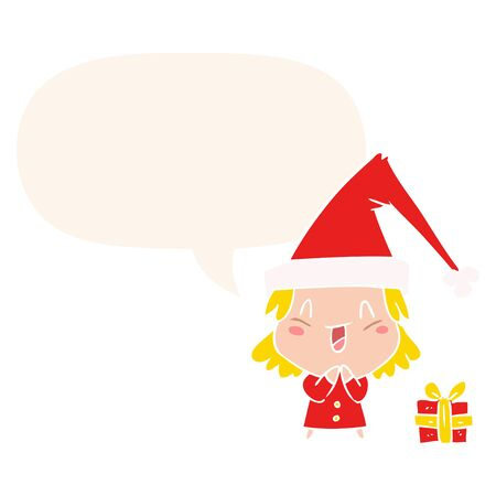 cartoon girl wearing christmas hat with speech bubble in retro style