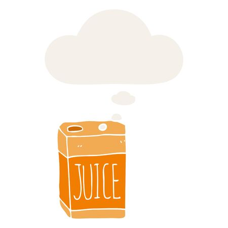 cartoon juice box with thought bubble in retro style