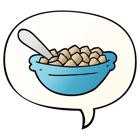 cartoon cereal bowl with speech bubble in smooth gradient style