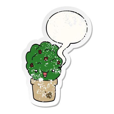 cartoon shrub in pot with speech bubble distressed distressed old sticker Иллюстрация