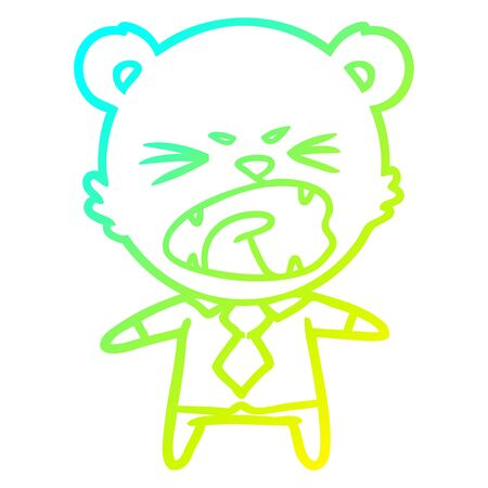 cold gradient line drawing of a angry cartoon bear