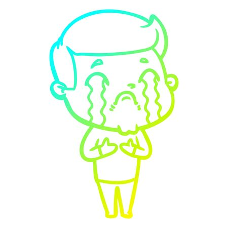 cold gradient line drawing of a cartoon man crying