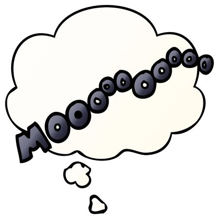 cartoon moo noise with thought bubble in smooth gradient style Imagens - 130011699