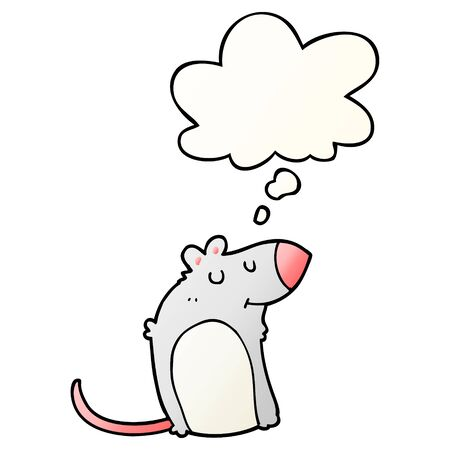 cartoon fat rat with thought bubble in smooth gradient style