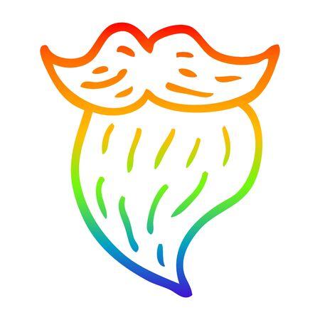 rainbow gradient line drawing of a cartoon white beard 일러스트
