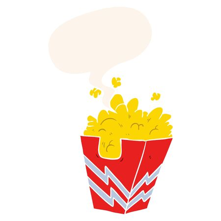 cartoon box of popcorn with speech bubble in retro style Imagens - 130011718