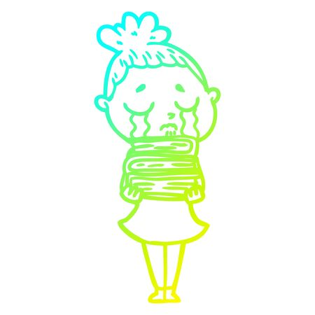 cold gradient line drawing of a cartoon crying woman with stack of books