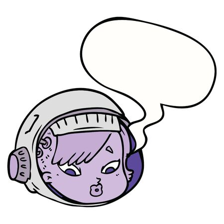 cartoon astronaut face with speech bubble
