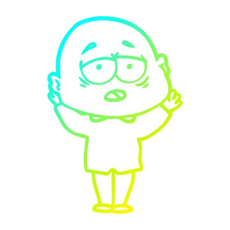 cold gradient line drawing of a cartoon tired bald man 向量圖像