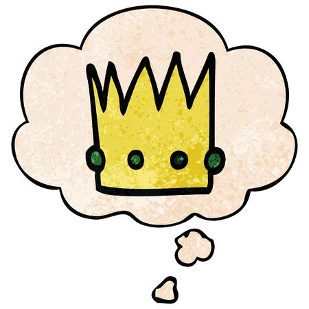 cartoon crown with thought bubble in grunge texture style