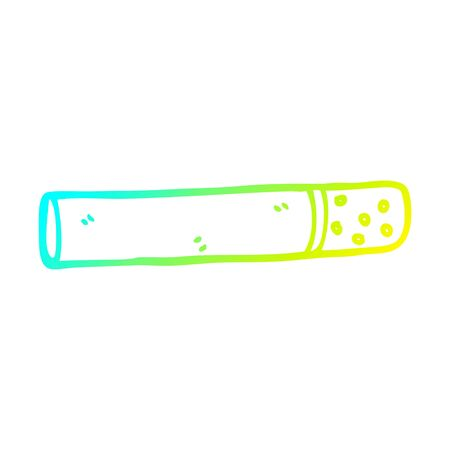 cold gradient line drawing of a cartoon cigarette Ilustracja