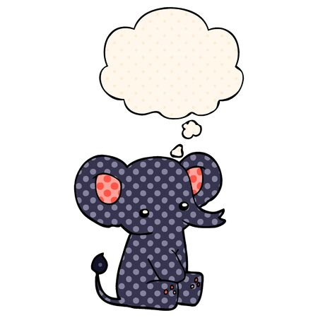 cartoon elephant with thought bubble in comic book style  イラスト・ベクター素材