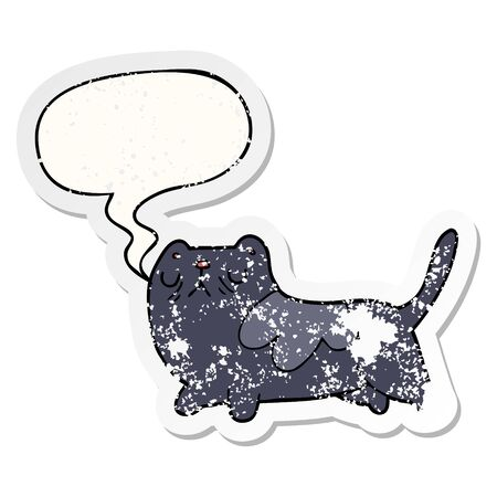 cartoon cat with speech bubble distressed distressed old sticker  イラスト・ベクター素材