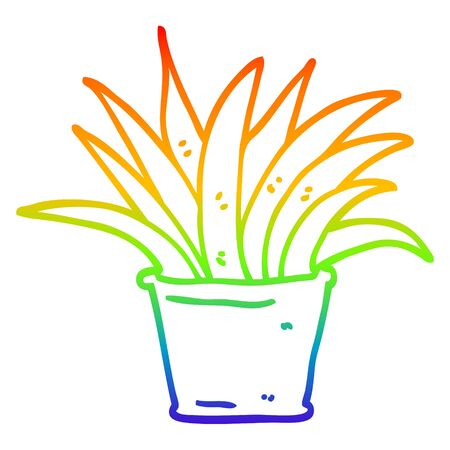 rainbow gradient line drawing of a cartoon house plant 일러스트