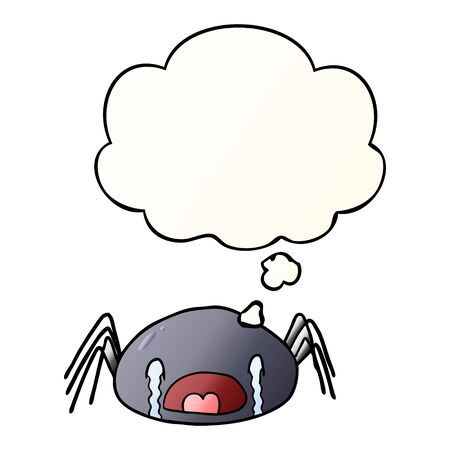 cartoon crying spider with thought bubble in smooth gradient style  イラスト・ベクター素材
