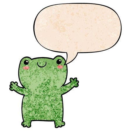 cute cartoon frog with speech bubble in retro texture style