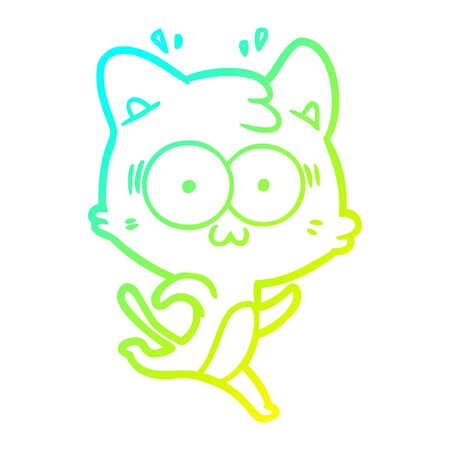 cold gradient line drawing of a cartoon surprised cat running