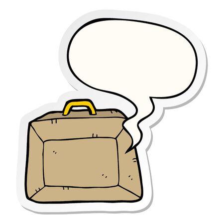 cartoon budget briefcase with speech bubble sticker Иллюстрация