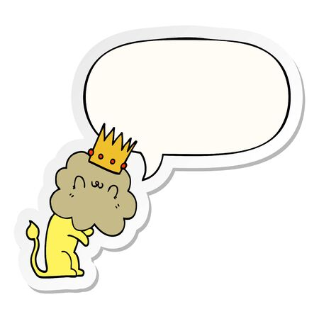 cartoon lion with crown with speech bubble sticker