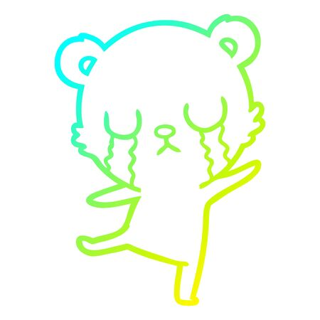 cold gradient line drawing of a crying cartoon bear doing a sad dance