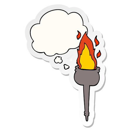 cartoon flaming chalice with thought bubble as a printed sticker Фото со стока - 129970390