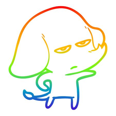 rainbow gradient line drawing of a annoyed cartoon elephant  イラスト・ベクター素材