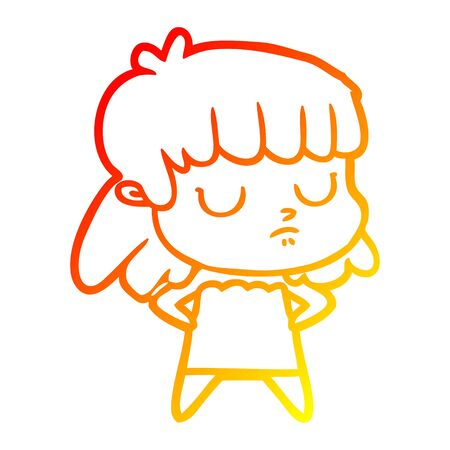 warm gradient line drawing of a cartoon indifferent woman