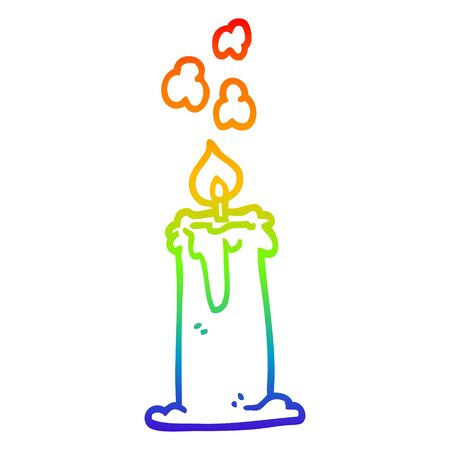rainbow gradient line drawing of a cartoon candle burning Çizim