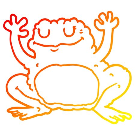 warm gradient line drawing of a cartoon frog