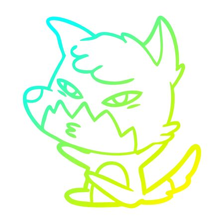 cold gradient line drawing of a clever cartoon fox 向量圖像