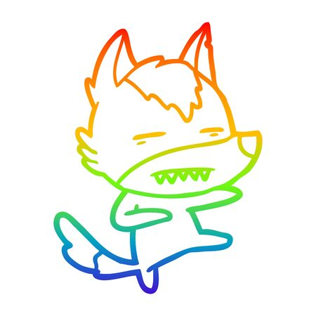 rainbow gradient line drawing of a cartoon wolf kicking Illustration