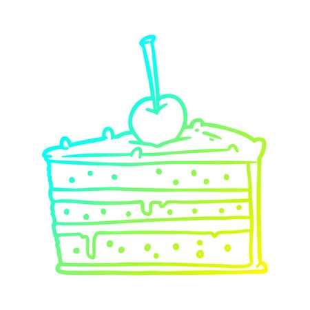 cold gradient line drawing of a tasty chocolate cake