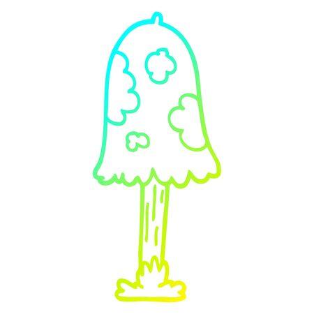 cold gradient line drawing of a cartoon mushroom Stock Illustratie