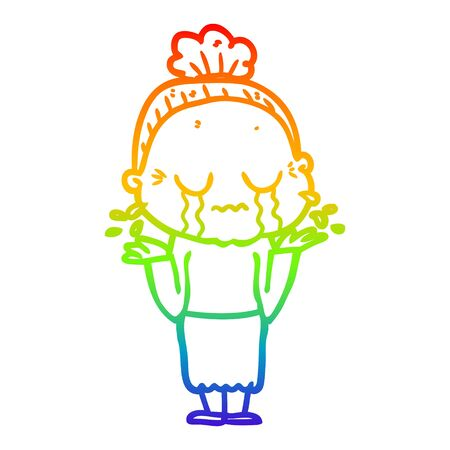 rainbow gradient line drawing of a cartoon crying old lady Foto de archivo - 130012144