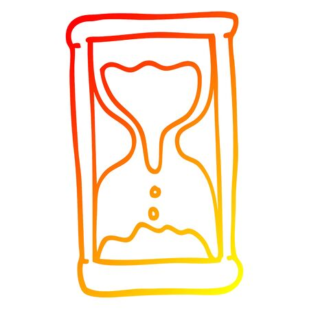 warm gradient line drawing of a cartoon hourglass